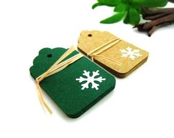 Set of 16 Christmas Gift Tags - Snowflakes - Kraft and Dark Green Cardstock - Set of 16