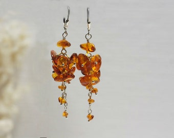 Baltic Amber Earrings, Cluster,Wire Wrapping , Gemstone Earrings