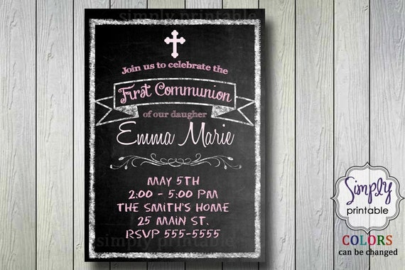 Blackboard Christening/Communion Invitation