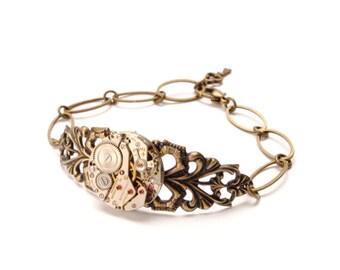 Steampunk Bracelet MOM GIFT Steam Punk Bracelet Vintage Watch Bracelet Antique Brass Wedding Steam Punk Jewelry By Victorian Curiosities