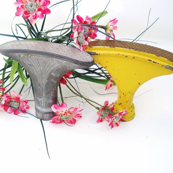 Vintage Old Garden Tools Lawn Sprinkers Industrial Rustic Fan Shaped Watering Tools Silver Yellow