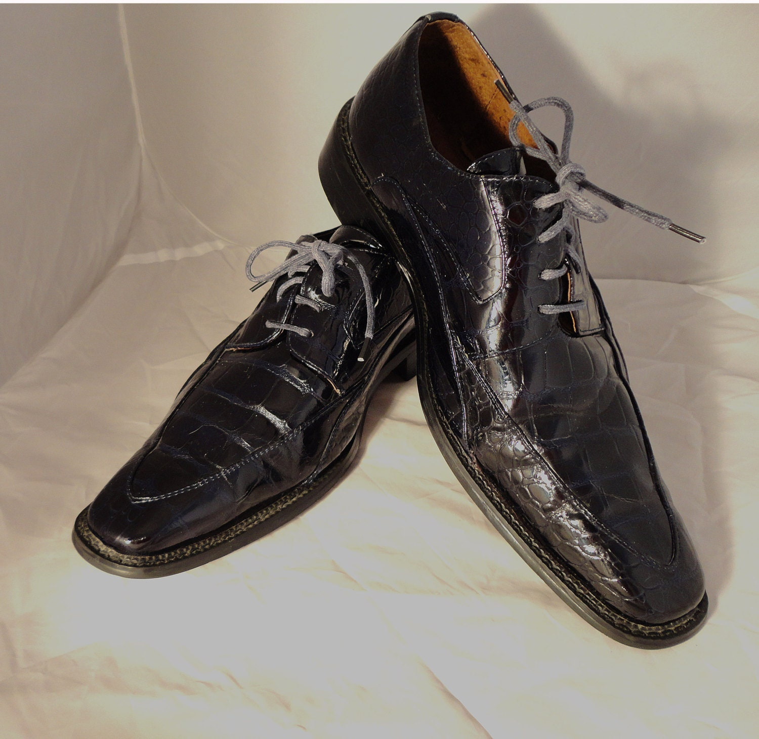 brand mens size 14 dress shoes black patent leather