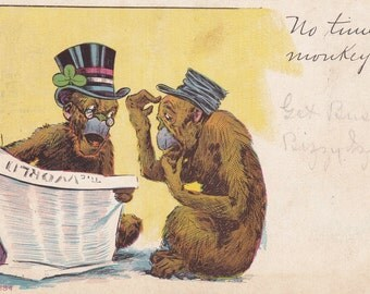 No Time to Monkey- 1900s Antique Postcard- Get Busy- Old Art Comic- Political Cartoon- Reading Apes- Paper Ephemera- Unused