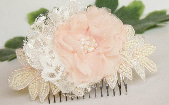 Blush Wedding Headpiece, Bridal Hair Flower, Hair Accessories, Pearl, Lace, Crystal, Beaded, Hairpiece, Hair Clip, Blush Pink Wedding