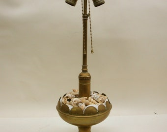 Antique Brass Oil Lamp with a Twist - Shell Collector Display Bowl