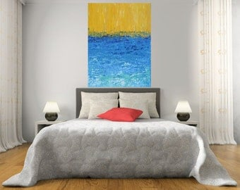 MADE TO ORDER: Original Abstract Summer Ocean Sea Blue Beach Sunshine Yellow by MyImaginationIsYours