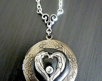 Angel Wings Heart Locket with Sculpted clay and a Crystal - Dark Silver Setting