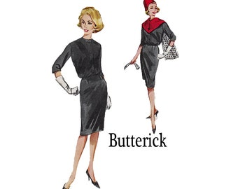 1961 Bloused Sheath Dress Stole with Patch Pockets Hip Top Tie Belt Size 14 Bust 34 Wiggle skirt 1960s 60s Sewing Pattern Butterick 9934