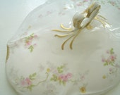 Limoges Oval Serving Bowl with Lid, Antique Pink and Yellow Roses with Gold, Haviland Style
