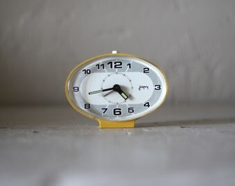 Unusual Shape Mid Century French Japy  Alarm Clock  60's Retro