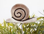 Snail garden art - plant stake - garden decor - snail ornament  - ceramic snail - large - brown