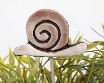 Snail garden art - plant stake - garden decor - snail ornament  - ceramic snail - large - brown