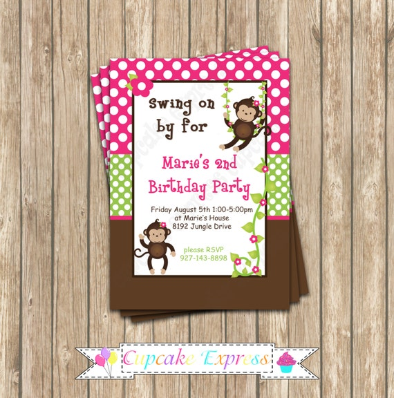 DIY Monkey Birthday Party  PRINTABLE Invitation 5x7 4x6 pink green brown girl Need them PRINTED just ask...