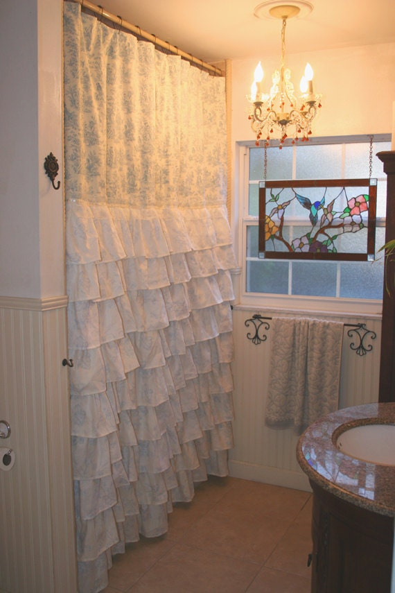 Ruffled Shower Curtain French Country Toile By MaribelClaribel