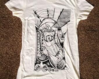 "Women's ""Diseasy"" t Shirt (creme) | original line drawing tribal surrealism logo portrait trippy portrait"
