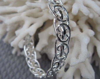 Swirled Sterling Silver Wire Cuff Bracelet