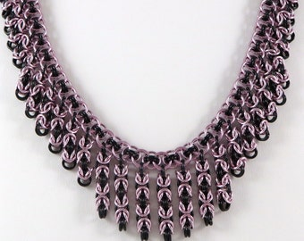 Chainmaille Necklace Pink Black Chainmail Necklace, Statement Jewelry, Chain Mail Jewelry