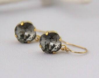 Black Diamond Crystal Dangle Earrings - Smokey Gray Swarovski Earrings