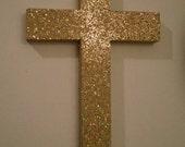 GOLD GLITTER CROSS  - Decorative Wall Cross in Sparkling Antique Gold Glitter