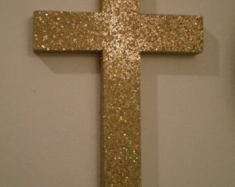 GOLD GLITTER CROSS  - Decorative Wall Cross in Sparkling Antique Gold Glitter