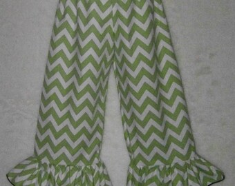Boutique Ruffle Pants or Shorts / Green Chevron / Birthday / Fall / Newborn / Infant / Baby / Girl / Toddler / Custom Boutique Clothing