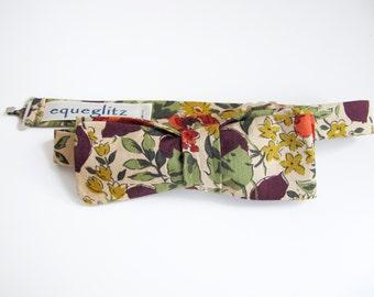 Retro honesty leaves and poppy flower print slim cotton bow tie