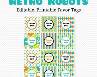 Boy Birthday Party Favor Tags, Retro Robots, Favor Bag Label, Goodie Bag Tag, Baby Shower Favor -- Editable, Printable, Instant Download