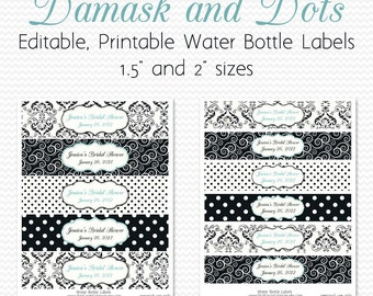 Water Bottle Labels, Black and White, Robin's Egg Blue, Damsak and Dots Birthday Party Decor, Bridal Shower Decoration - Editable, Printable