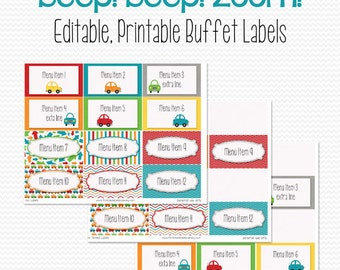 Buffet Labels, Place Cards, Candy Buffet, Beep Beep Zoom, Car Party Decoration, Transportation -- Editable, Printable, Instant Download