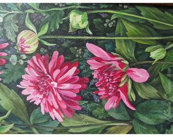 Dahlias, ORIGINAL 16x8 Painting, Pink Flowers, Dahlias, Garden Flowers, Special Gift, Floral Landscape, Custom Paintings