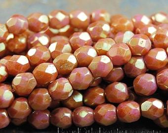 4mm Antique Rose Gold Luster Opaque Czech Glass Faceted Bead  -50 czech beads