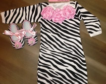 Newborn Take Home Outfit Couture Zebra Sleeper Gown, Beanie & Crib Shoes Baby Girl Hospital Take Home, Coming Home Outfit, Going Home Oufit