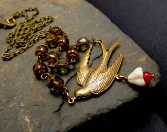Antique Dove necklace, Vintage Inspired Style, Antique Olivian Beads,  Brass Dove, Swallow Necklace, mother's necklace, FREE SHIPPING