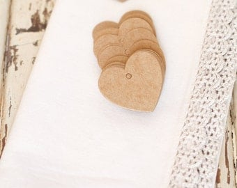 20 Brown Kraft Heart Tags