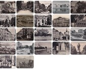 USSR Cities. Set of 22 Vintage Travel Photo Cards: Gorky, Kiev, Moscow, Pushkin, Astrakhan, Riga, Lvov, Minsk, Tambov - 1940s, 1950s