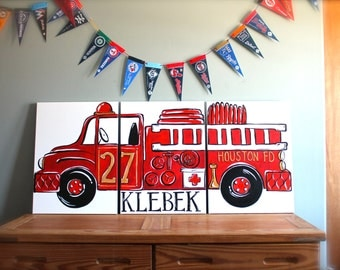 "triptych red vintage fire truck. 54""x24"" original painting . large triptych art. fire truck room decor. personalized with name made to order"