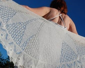 Ivory Bridal Shawl, Lace Wedding Shawl, Womens Hand Knit Shawl - aboutCRAFTS