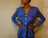 SALE--20% OFF Listing Price--Vintage Liz Claiborne silk, size 8 Blue Dress, peplum skirt