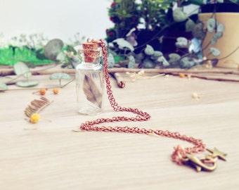 Bohemian Bottle Necklace miniature feathers stars. Vial necklace. Feathers necklace. Whimsical jewelry, jewelry nature necklace, woodland