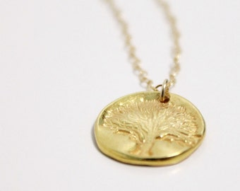 Gold Tree of Life Necklace, Small Gold Medallion, Dainty Necklace, Tiny Disc Disk Necklace, Family Tree Pendant, Gold Charm, Women Gift