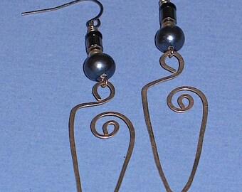 Silver Wing Spiral Earrings, Blue Pearl & Hematite Beads
