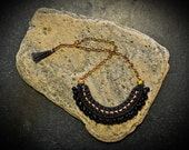 Black Beads Necklace, Tribal Pearl Bib, Crochet Statement Necklace with Glassbeads and Jersey