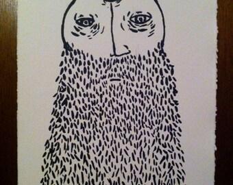 Original Hand Pulled Screenprint - Wise Man