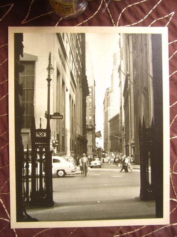 Lower Broadway, New York City, 1955... Vintage Photo... 8 x 10 inches... 1950's Original City Snapshot Photograph
