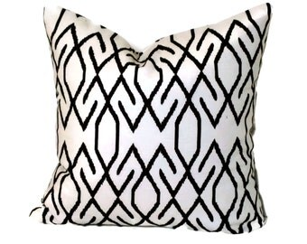 Brown and White Lattice Decorative Pillow Covers 18x18, 20x20, 22x22 or Lumbar Pillow Accent Pillow