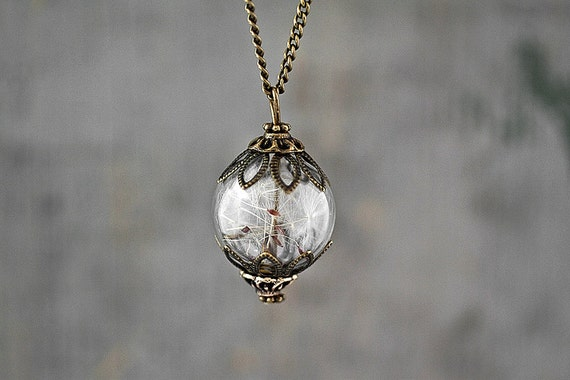 Real Dandelion Seeds Antique Style Bronze. Handblown glass orb, double bronze bead cap, long necklace