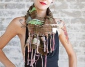 The River's Trees: Hand-Woven Scarflette, Scarf, Hand woven, Accessory, Winter Accessory, SAORI, Freeform, Freestyle, Japanese