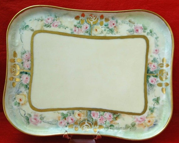 Price Reduced Beautiful Vintage HAND PAINTED TRAY For Perfumes or Wine Glasses, Pink, Yellow n Gold Roses, Mrkd 0 L on Back w/ Makers Mark