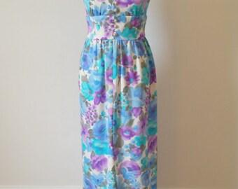 Vintage Floral Watercolor Maxi Dress