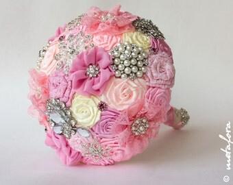 SALE!!! Brooch bouquet, Pink Fabric Wedding Bouquet, Unique Fabric Flower Bridal Bouquet